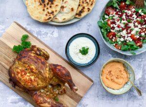 Helstegt kylling med indiske krydderier