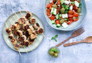 Græske kyllingespyd med fetaost